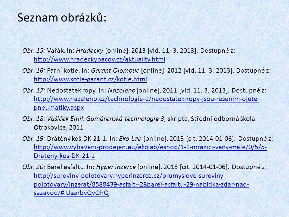 Seznam obrázků: Obr. 15: Vařák. In: Hradecký [online]. 2013 [vid. 11. 3. 2013]. Dostupné z: http://www.hradeckypacov.cz/aktuality.html.